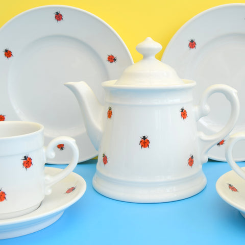 Vintage 1970s Schonwald China Teaset - Germany - Ladybirds