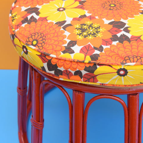 Vintage Bamboo Stool / Table - Red - Flower Power