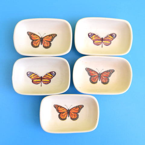 Vintage 1950s Butter Dishes - Butterflies x5