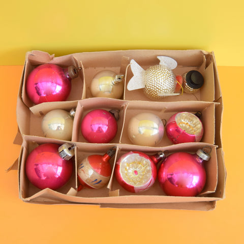Vintage Mixed 1950s Glass Christmas Baubles - Pink & Silver