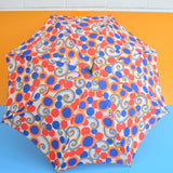 Vintage 1970s Small Umbrella / Parasol - Octopus Tentacles / Swirls