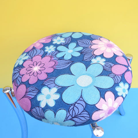 Vintage 1960s Chrome / Flower Power Stool - Purple & Blue