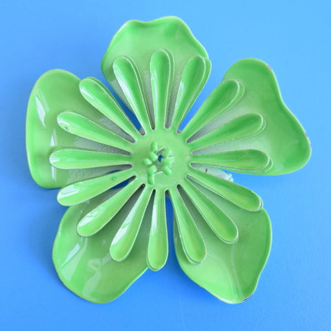 Vintage 1970s Enamel Brooch Pins - Flower Designs - Green Mixed