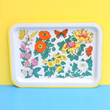 Vintage 1960s Metal Tray - Butterfly & Flower Design - Orange , Green & Yellow