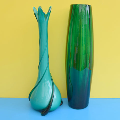 Vintage 1960s Italian Glass Bullet Vase & Flared Swirl Vase - Jewel Colours