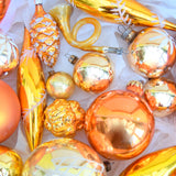Vintage Gold / Orange 1960s Glass Christmas Baubles / Decorations x23