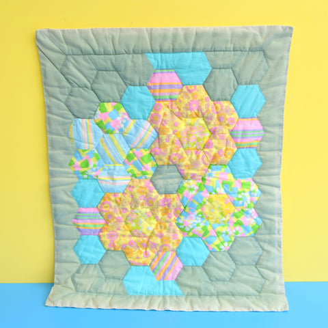 Vintage 1960s Fabric Patchwork Small Cot Quilt - Flower Power