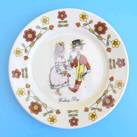 Vintage 1970s Wedding Plate - Flower Power - Marion