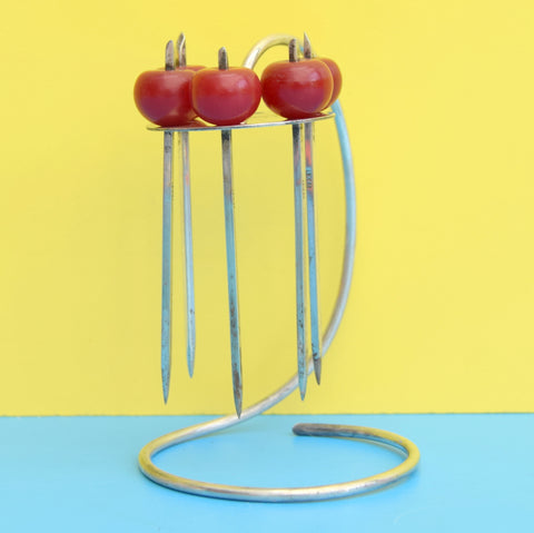 Vintage 1950s Cocktail Sticks / Stand - Silver Plated / bakelite Apples