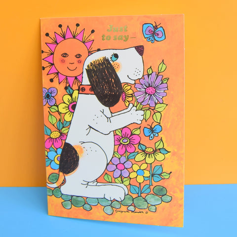 Vintage 1970s Greeting Card - by Gwyneth Mamlok - Fido, Orange