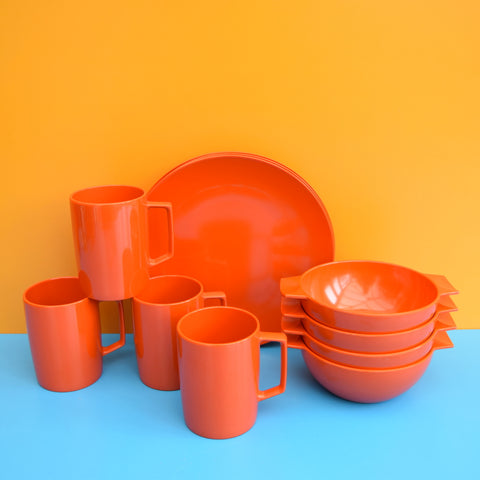 Vintage 1970s Vintage Melamine Plastic In Box - Orange