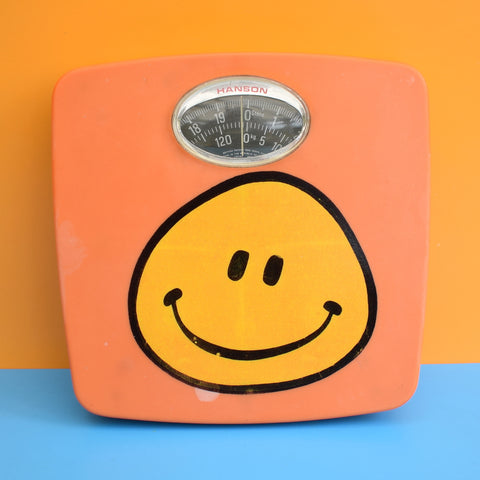 Vintage 1970s Bathroom Scales - Orange Happy Face
