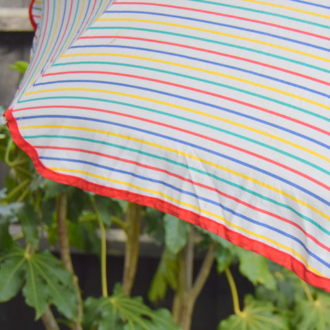 Vintage 1970s Cotton Garden Parasol - Striped / Adjustable Height - Rainbow