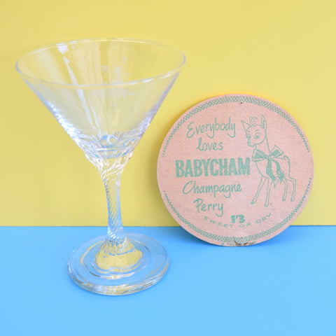 Vintage Babycham Glass & Drinks Mat Gift Set