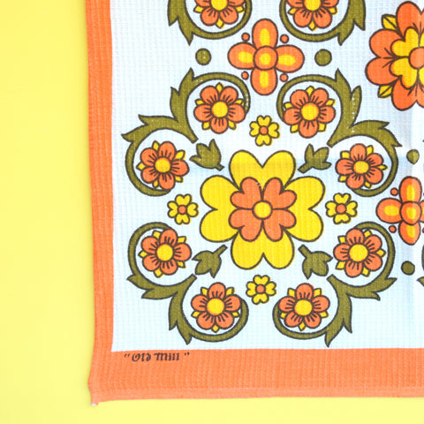 Vintage 1960s Cotton Tea Towel - Flower Power Design - Orange & Dark Green