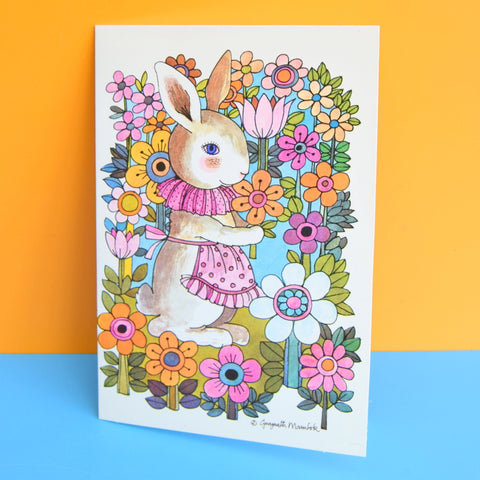 Vintage 1970s Greeting Card - by Gwyneth Mamlok - Flower Bunny