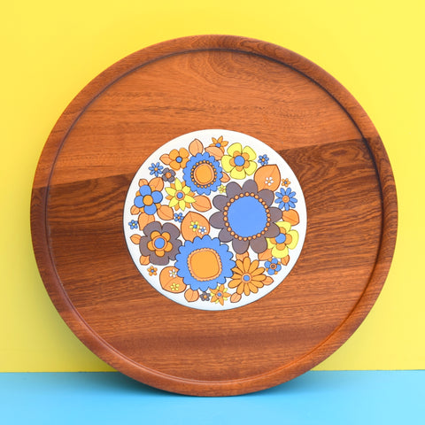 Vintage 1970s Teak Turntable Tray - Flower Power
