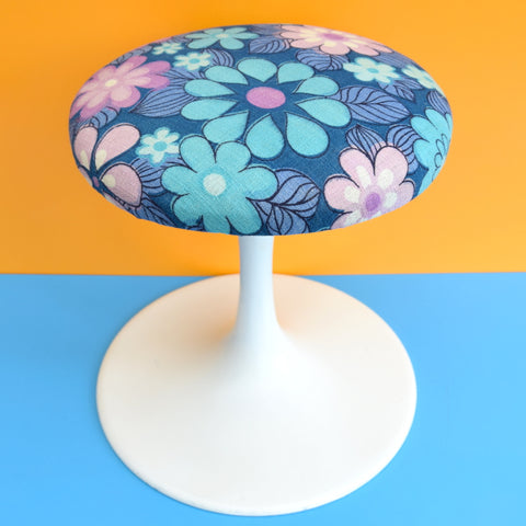 Vintage Tulip Based Stool - 1960s Flower Power Fabric - Blue / Purple