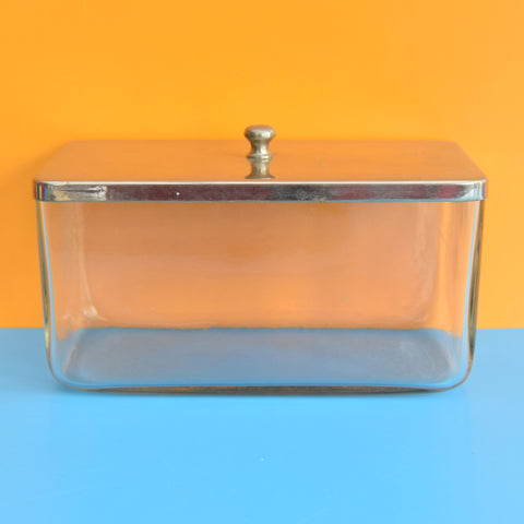 Vintage 1930s Chrome & Glass Storage Box