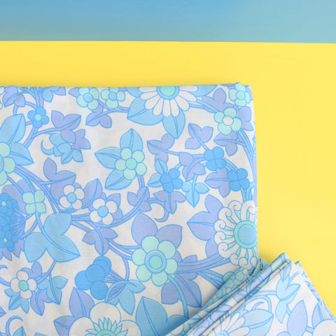 Vintage 1960s Double Bedding - Flower Power - Blue / Mint