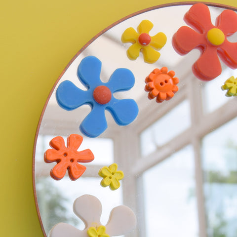 Vintage 1990s Mirror - Flower Power - Orange, Yellow & Blue