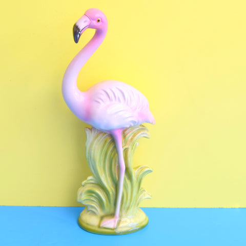 Vintage 1950s Kitsch Ceramic Flamingo Figure - Pink