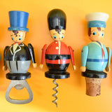 Vintage 1960s Wooden Corkscrew / Bottle Stoppers - German x5