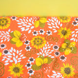 Vintage 1960s Towelling Fabric - Flower Power - Orange & Yellow