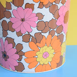 Vintage 1960s Metal Waste Paper Bin - Pink & Orange Flower Power