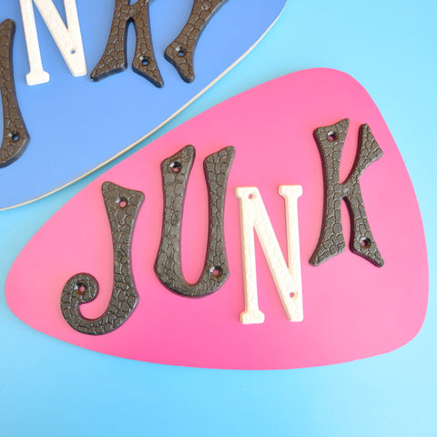 Vintage 1970s Formica / Plywood Wall Plaques / Signs - Funky Junk