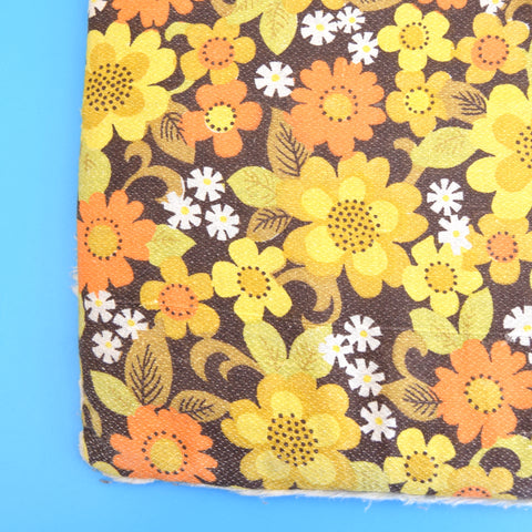 Vintage 1960s Seat Cushions & Pad x4 - Flower Power - Orange