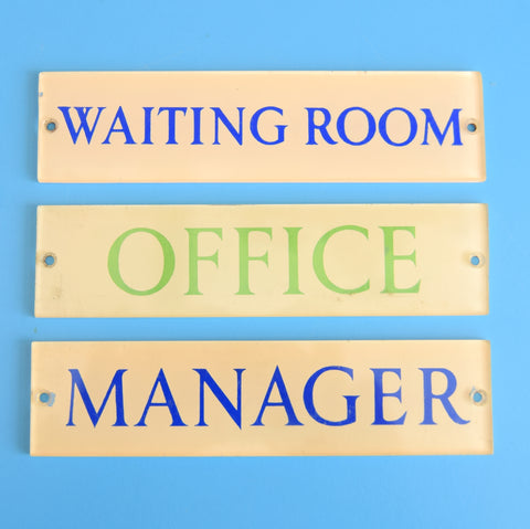 Vintage 1970s Perspex Door Signs - Manager, Waiting Room Etc