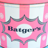 Vintage 1950s Large Batgers Toffee Tin - Pink Stripe