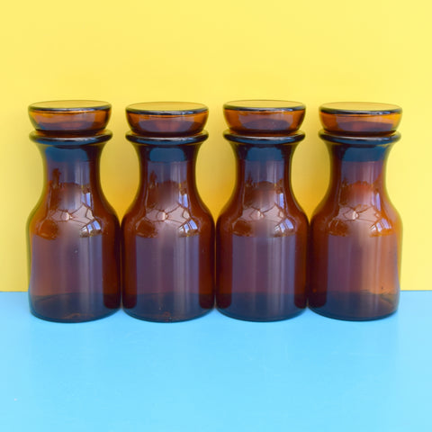 Vintage 1970s Glass Jars x 4 - Made In Belgium - Brown
