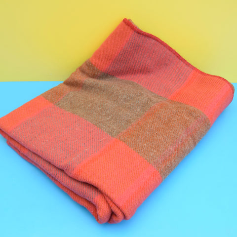 Vintage 1960s Norwegian Wool Blanket / Throw - Pink & Brown