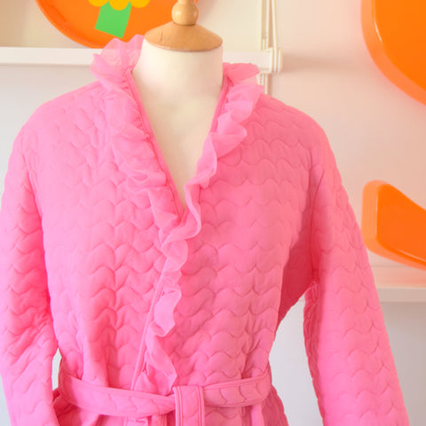 Vintage 1960s Nylon Frill Housecoat - Pink size M