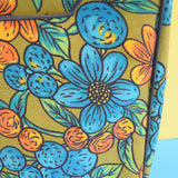 Vintage 1960s Large Suitcase - Orange & Blue Flowers On Green Background