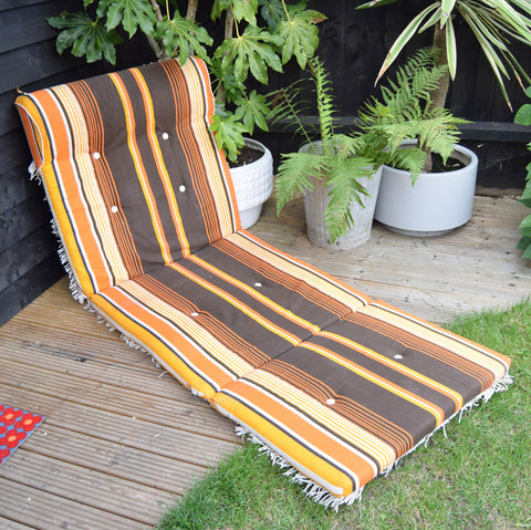 Vintage 1960s Long Padded Striped Garden Cushion - Orange & Brown