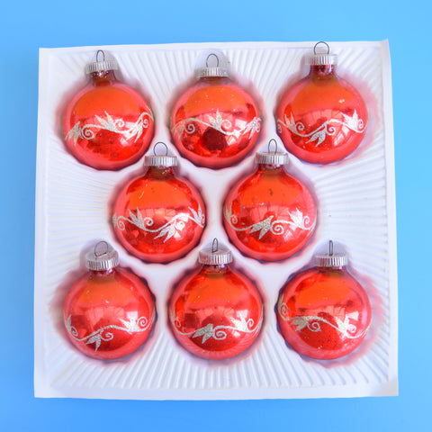 Vintage 1970s Glass Christmas Baubles - Boxed - Red