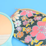 Vintage 1960s Wash Bag Set - Flower Power - Blue