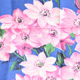 Vintage 1950s Flower Cotton Tea Towel - Pink & Blue