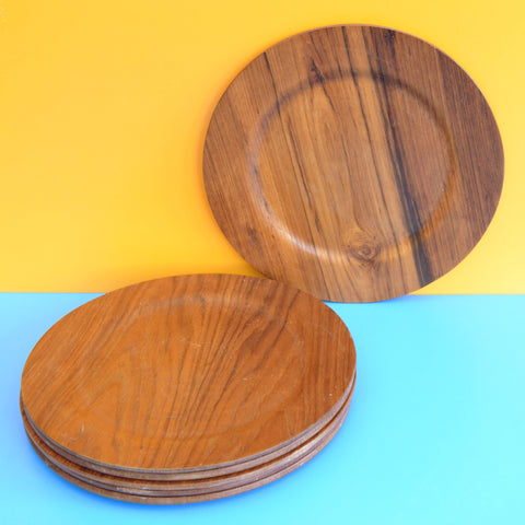 Vintage 1960s Danish Teak Plates / Under Plates - Made in Denmark x6