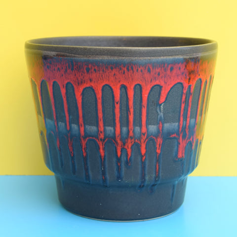 Vintage 1960s West German Ceramic Plant Pot - Black With Red Drop
