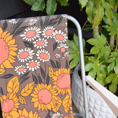 Vintage 1970s Folding Garden Chair - Sunflower Power - Orange