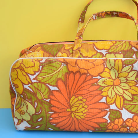 Vintage 1960s Knitting Bag / Storage Bag - Flower Power - Orange
