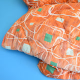 Vintage 1950s Sleeping Bag - Atomic Print Design - Orange & Green