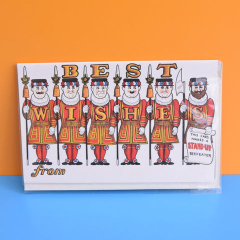 Vintage 1970s Greeting Card - Cut Out - Best Wishes - London Beefeater