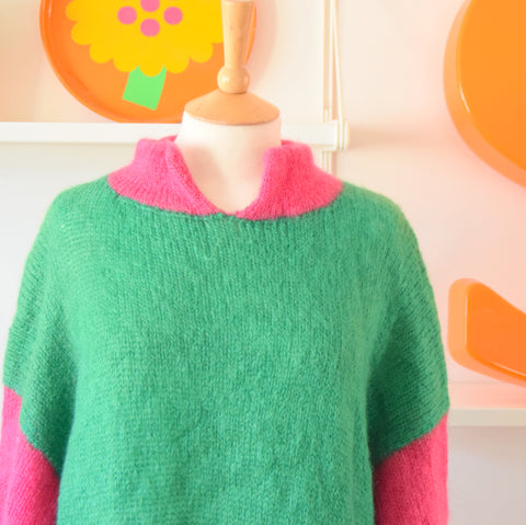 Vintage 1980s Handmade Mohair Fluffy Dress - One Size - Bright Pink / Green