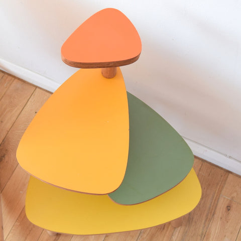 Vintage Style Formica Tiered Plant Stand / Table - Orange, Green & Mustard