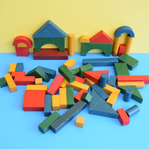Vintage 1970s Coloured Wooden Building Blocks
